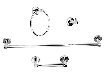 Luckup - Conjunto de 4 accesorios para baño de acero inoxidable ... 446df2bc9bc0