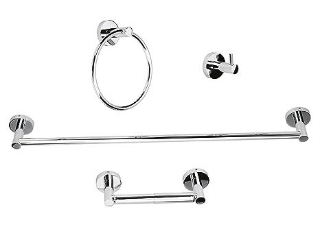 Luckup - Conjunto de 4 accesorios para baño de acero inoxidable, incluyo 1