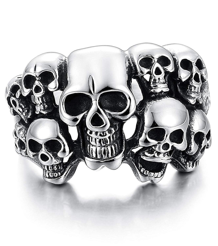 Finrezio Bague Cr/âne de Mort en Acier Inoxydable pour Homme Skull Anneau Biker Bague Taille 59-66.5