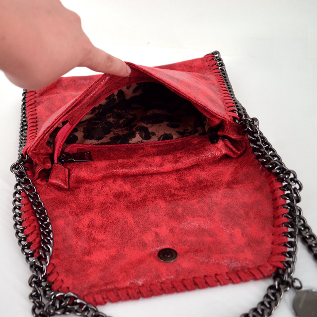 Amily PU Leather Chain Bag Cross Body Bag Hobo Handbag Clutch Shoulder Bag Messenger Bag Purse Pouch for Women Red by Amily (Image #3)