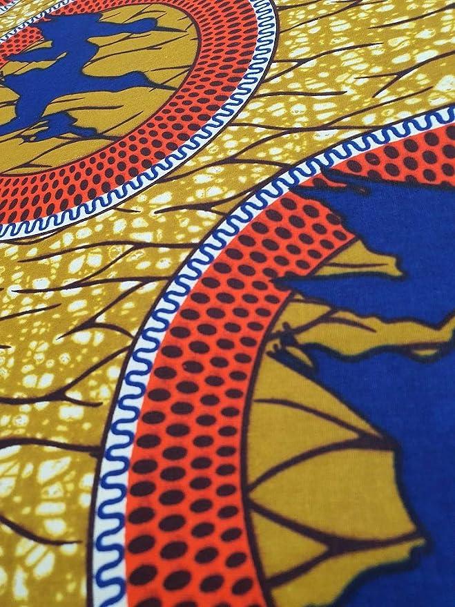 tela de dise/ño de moda africana Paquete de 6 yardas 5.5 m de largo x 1.2 m de ancho Tela estampada de algod/ón Dise/ño Superwax Tela de Ankara para la confecci/ón de telas 100/% algod/ón