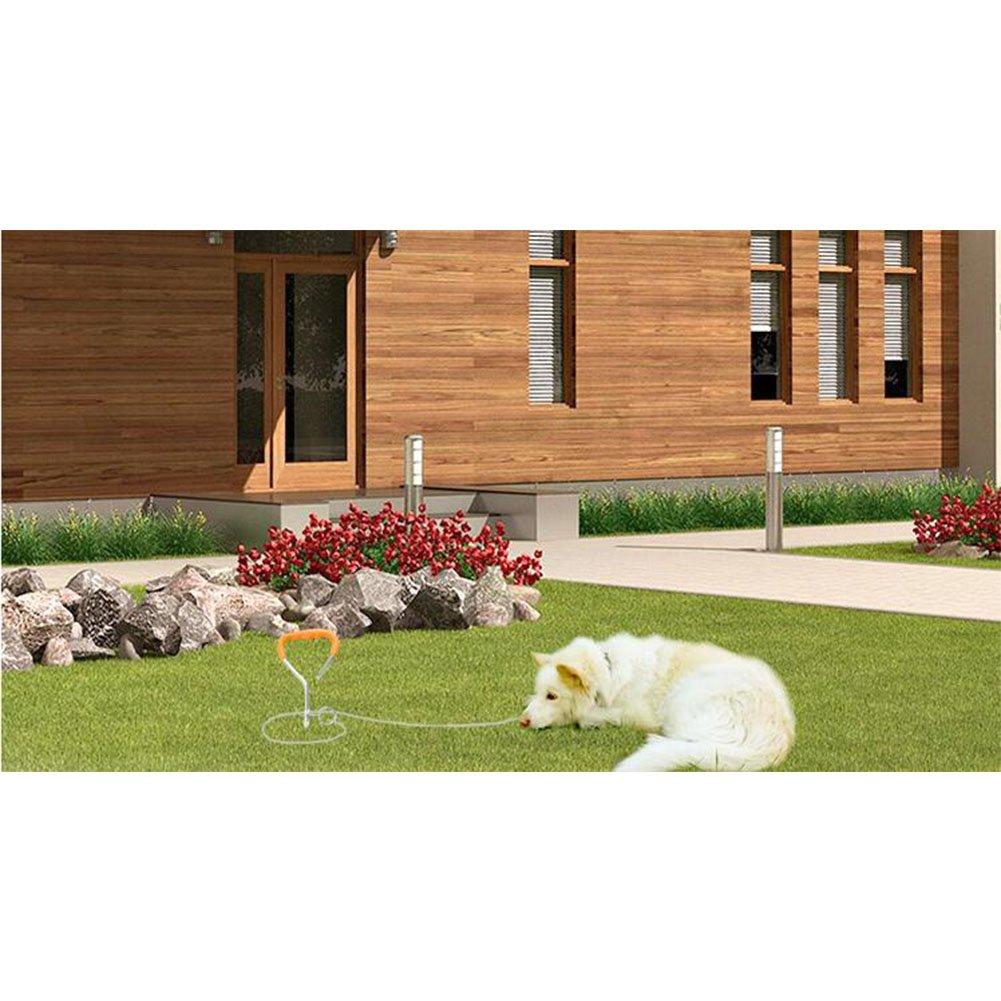 Câble Attache Chien, 360° Laisse et Attache en Spirale Domestiques Complet pour Extérieur Jardin et Camping L'attache en Alliage Poignée de câble d'argent de chien en plein air Poignée d'orange Clou d'ancrage fixé au sol en spirale Lanlan