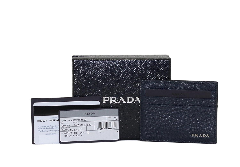 Prada Saffiano Bicolor Card Case, Baltico-Nero 2MC223 at Amazon ...