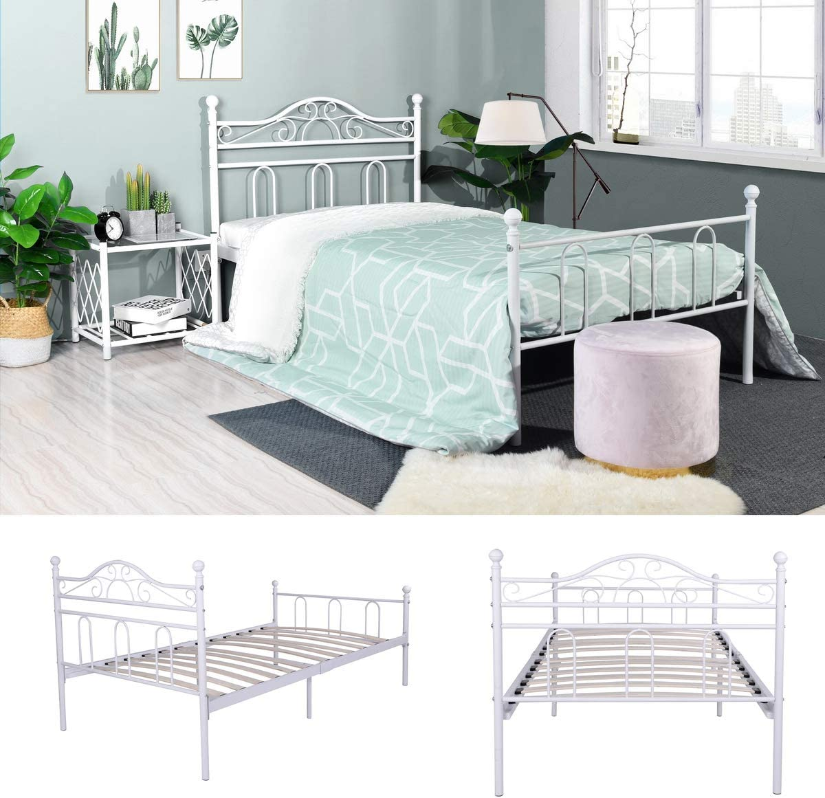 Aingoo Single Bed Frame with Wood Slats Solid 3ft Metal Bed with Classical Headboard for Adults Children Kids Fits for 90 190 cm Mattress White