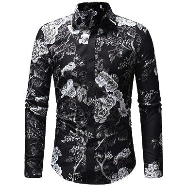 76392d8d02a WM & MW Men Fancy Shirt,Autumn Men's Blouse Casual Floral Printed Long  Sleeve Slim Fit Button Shirt Tops