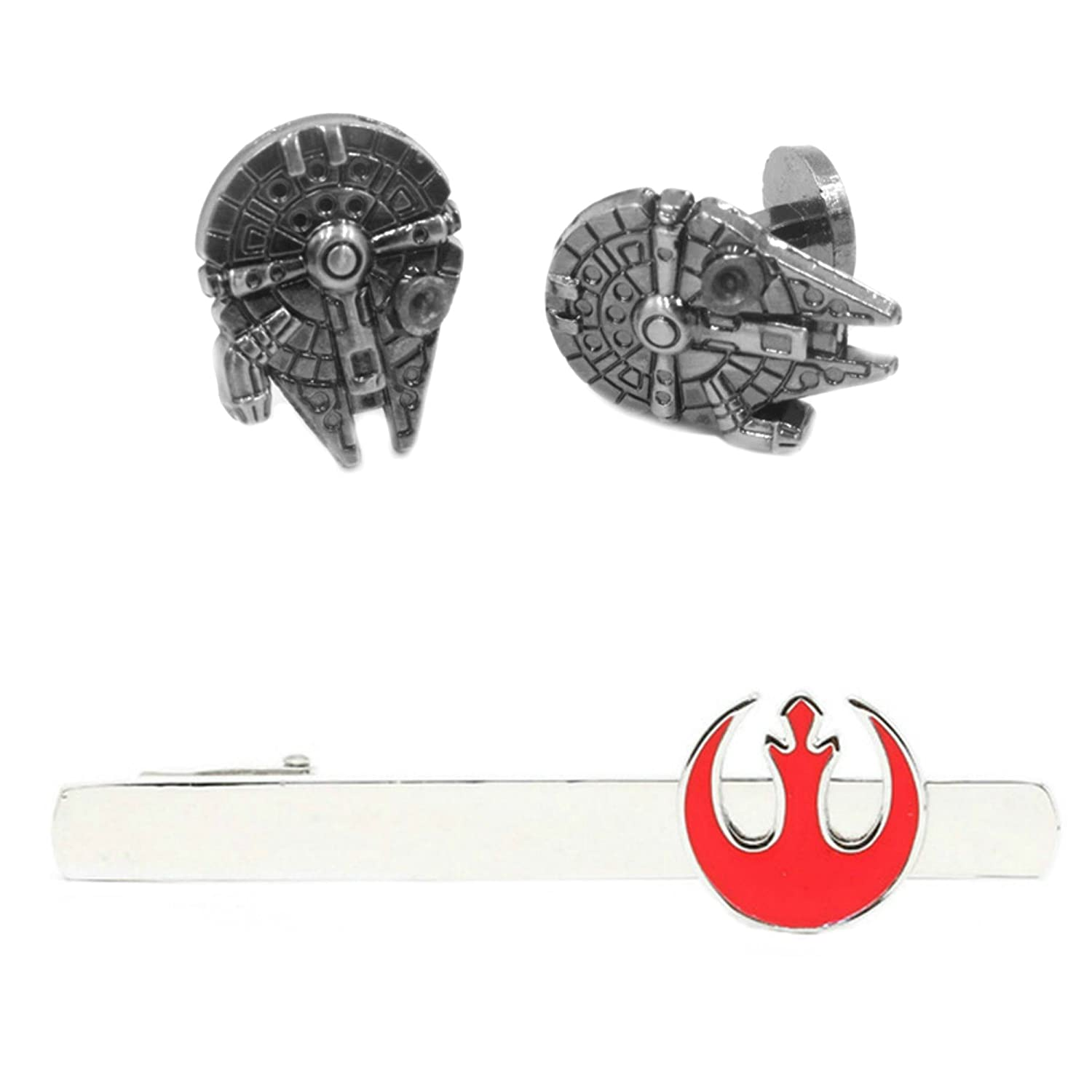 Outlander Millenium Falcon Cufflink & Rebel Tiebar - New 2018 Star Wars Movies - Set of 2 Wedding Logo w/Gift Box Outlander Brand