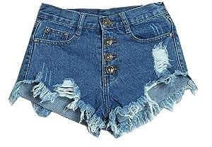 Fulok Womens Hole High Waist Juniors Washed Cutoff Denim Shorts