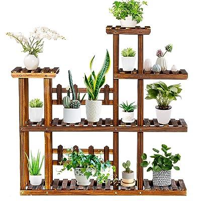 TOOCA Wood Plant Stand Indoor, 5-Tier Outdoor Plant Stand, Flower Pot Stand, Multiple Tier Plant Display Rack Holder, Steady Vertical Carbonized Shelves for Patio Livingroom Balcony Garden Yard : Garden & Outdoor