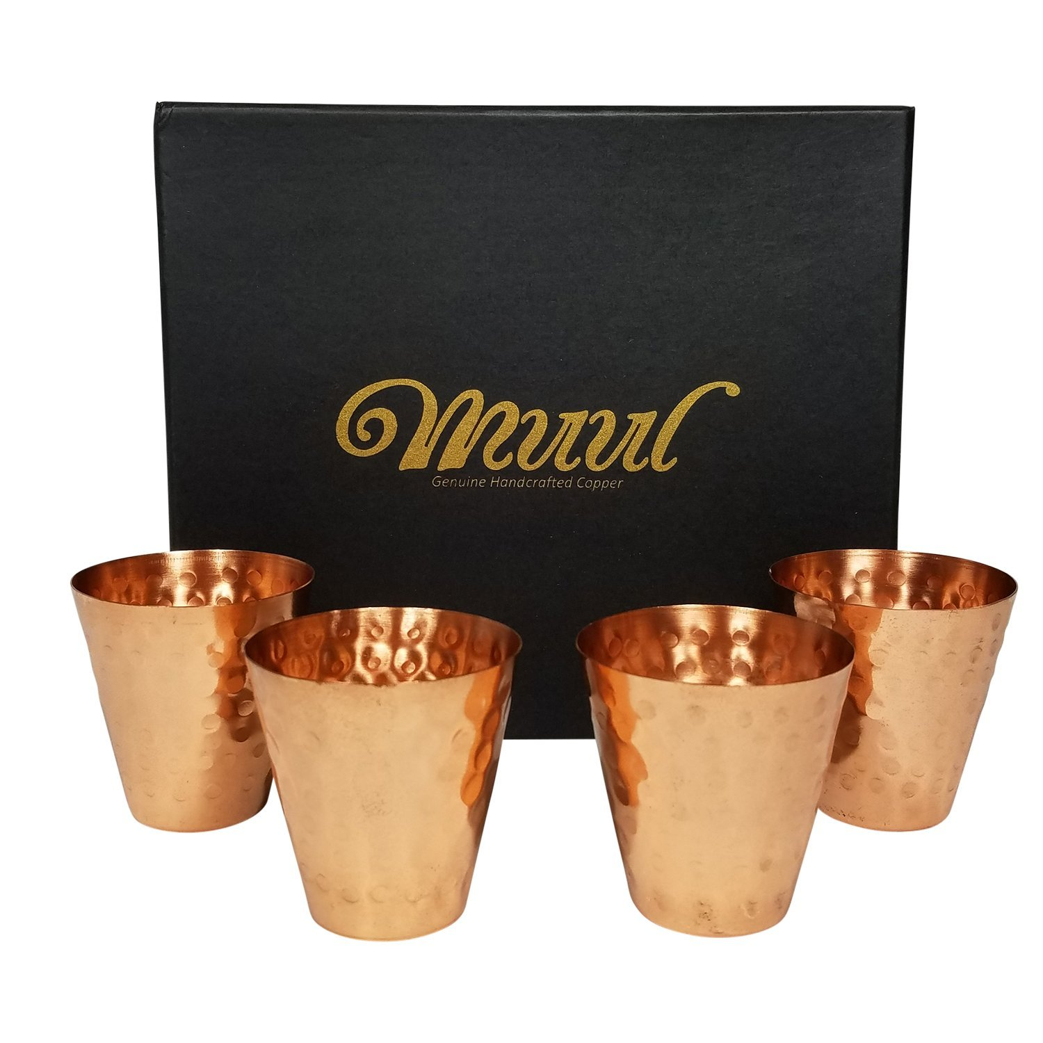 Moscow Mule Copper Shot Glasses Set Of 4 - 100% Pure Copper Handmade Hammered Shot Glasses in Gift box,With Food Safe Protection Lining ! Includes 4 - Copper Shot Glasses - By MUUL