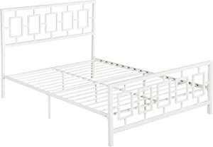 Christopher Knight Home Dawn Queen-Size Geometric Platform Bed Frame, Iron, Modern, Contemporary, Low-Profile, White