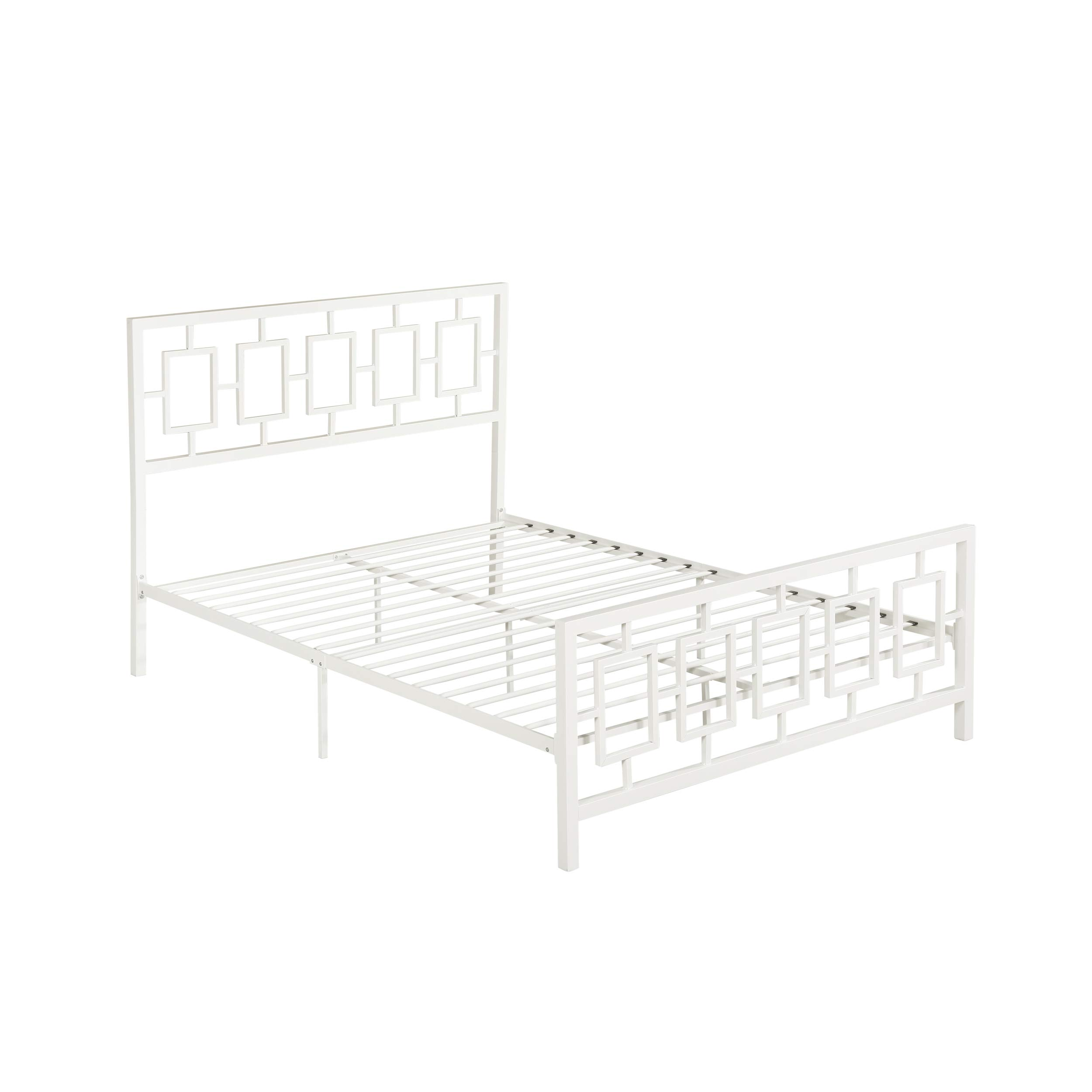 Christopher Knight Home Dawn Queen-Size Geometric Platform Bed Frame, Iron, Modern, Contemporary, Low-Profile, White by Christopher Knight Home