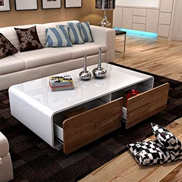 OSPI® Living Room Furniture High Gloss White Coffee Table With 4 Big Walnut  Colour Storage Part 95