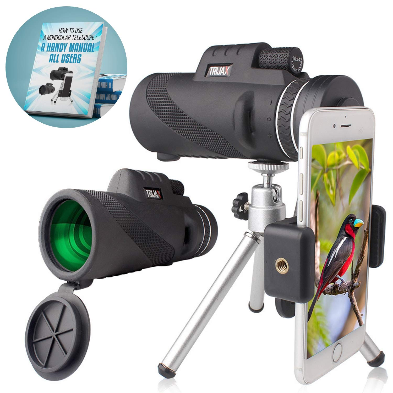 TRIJAX High Powered Monocular Telescope | Incredible Smartphone Scope With iPhone/Android Holder & Tripod Stand Accessories | Crisp Quality & Waterproof Ideal For Bird Watching,Travel etc,BONUS E-BOOK by TRIJAX