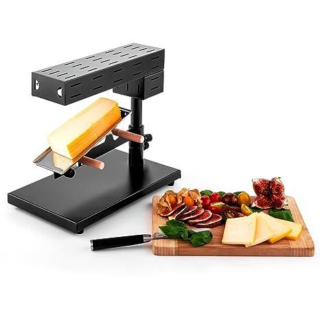 oneConcept Appenzell raclette suiza (600 W de potencia, soporte de acero inoxidable para fundir queso en una pieza, termostato, pies de goma, altura e ...