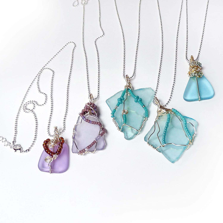 Sterling Silver Wrapped 2 Light Purple Beach Glass Pendant