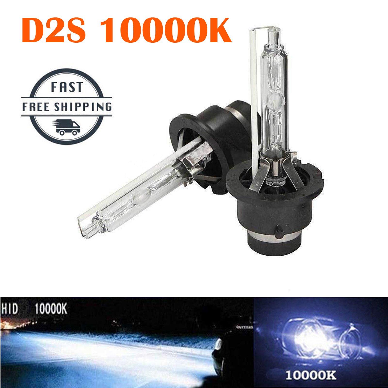 D2S D2C D2R 10000K HID Bulbs Xenon 35W 12V Car Headlight Deep Blue Color Replacement 85122 85123 66040 53500 (Pair)