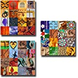 """Dubai Souvenir -""""Colors of Arabia - A Collage of Patterns & Doors"""" - Gallery Quality 20 x 20cm Set of Three (3) Square Wall Art"""