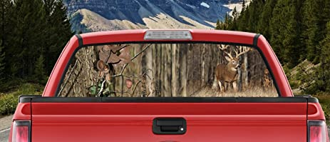 Amazoncom Hunting Camo Deer Big Rack In The Woods Whitetail Full - Rear window hunting decals for trucksamazoncom truck suv whitetail deer hunting rear window graphic