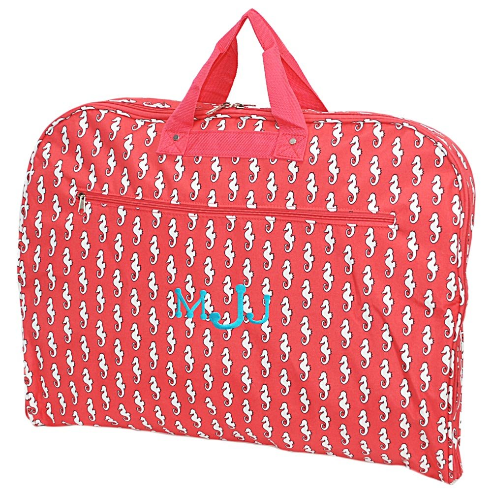 Personalized Sea Horse Hanging Garment Bags (Coral)