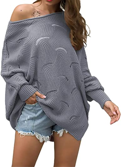Relipop Womens Pullover Batwing Sleeve Loose Hollow Knit Sweaters