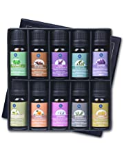 Lagunamoon Essential Oils,Top 10 Pure Aromatherapy Oils Gift Set Ideal for Christmas- Includes Lavender Orange Peppermint,Lemon,Rosemary Essential Oil