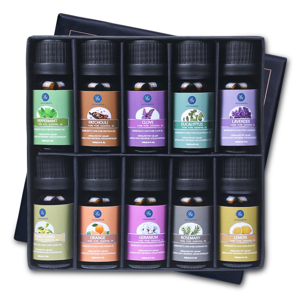 Lagunamoon Essential Oils, 100% Pure Aromatherapy Oils Gift Set- Lavender Orange Peppermint,Lemon,Rosemary Essential Oil - 10 Pack