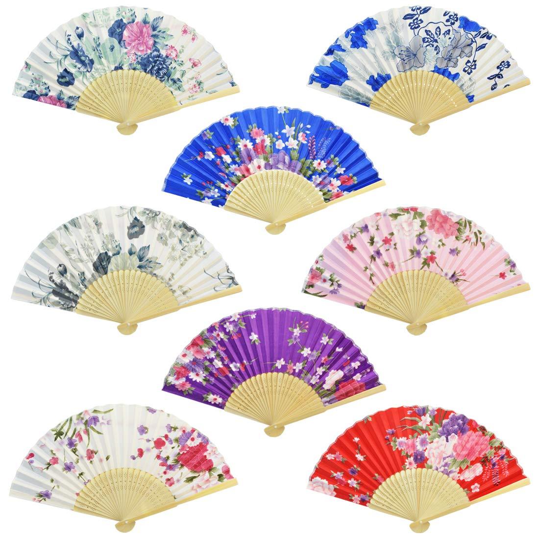 Miayon Floral Folding Hand Fan, 8Pcs Japanese Vintage Retro Style Folding Fan with Wooden Ribs Dancing Wedding Party Decor Fan (Random Color) (8pcs-Chinese Style with Wooden Rib) by Miayon