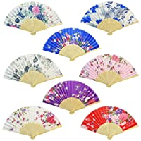 Miayon Floral Folding Hand Fan, 8Pcs Japanese Vintage Retro Style Folding Fan with...