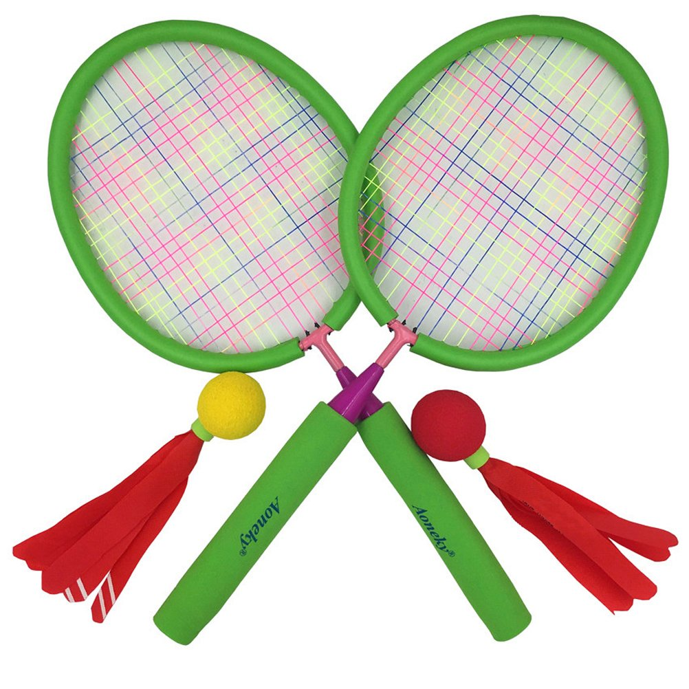Aoneky Badminton Racket Set for Kids, Hot Outdoor Toys for Children Above 3 Years Old, Best Gifts for Boys Girls, Green BM-01