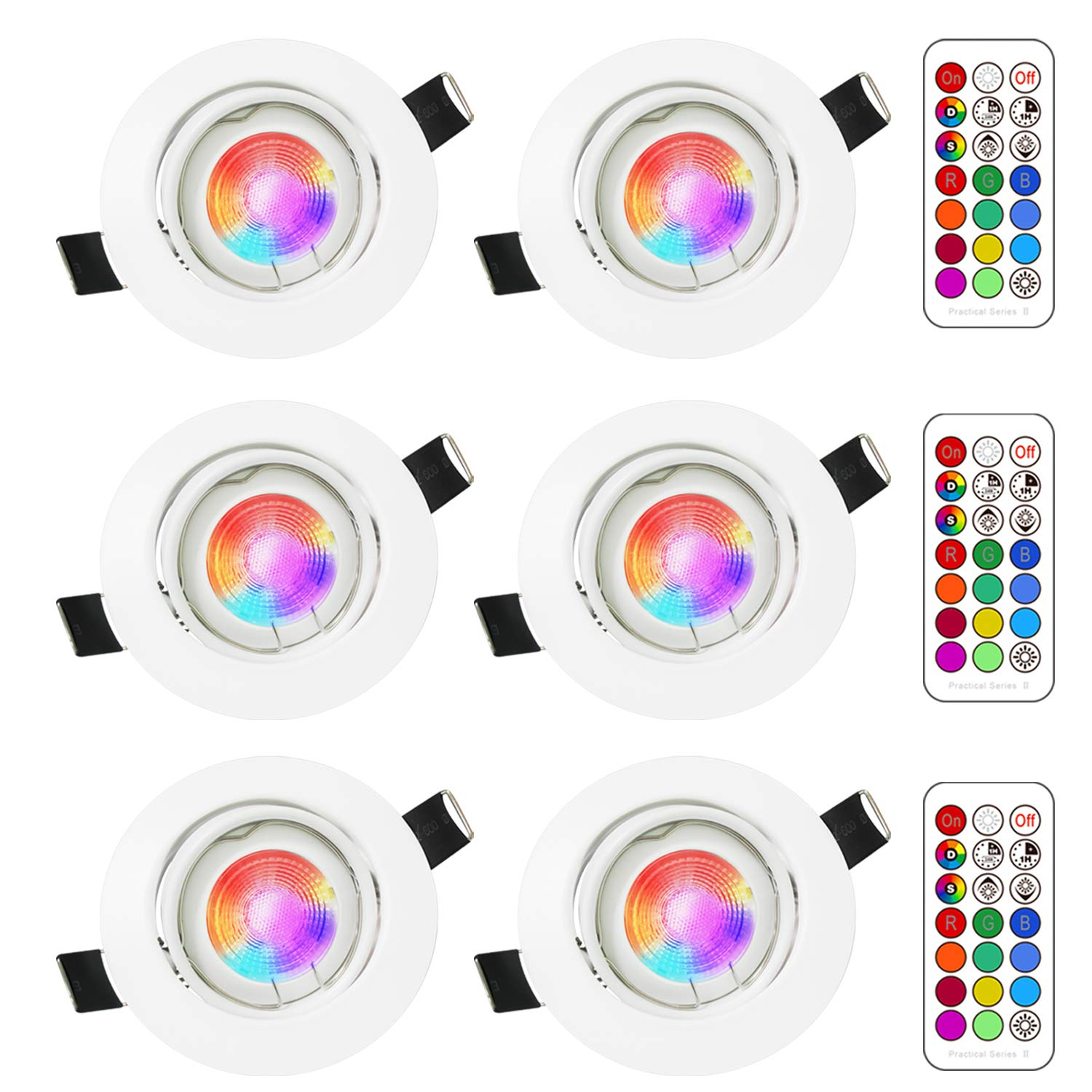 (6 Pack) RGB Led Recessed Ceiling Light, Sunpion 3W GU10 RGB Led Light Bulbs Ceiling Spotlights Coolwhite Light Lamps 6000K with Round Shell for Living Room Light, Kitchen Downlights
