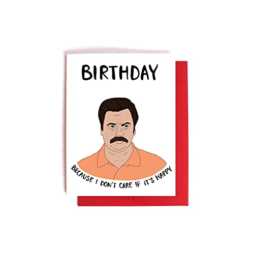 Amazoncom Ron Swanson Doesnt Care Birthday Card Parks and
