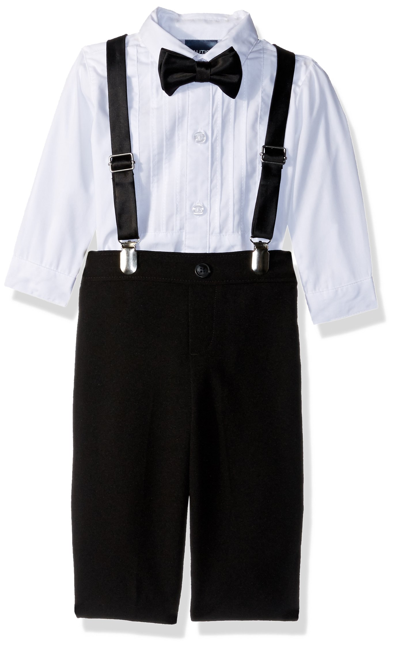 Nautica Baby Boys Set with Shirt, Pant, Suspenders, and Bow Tie, Black Tuxedo, 6-9 Months
