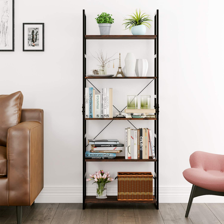 Homfa Bookshelf Rack 5 Tier Vintage Bookcase Shelf Storage Organizer Modern Wood Look Accent Metal Frame Furniture Home Office by Homfa (Image #3)