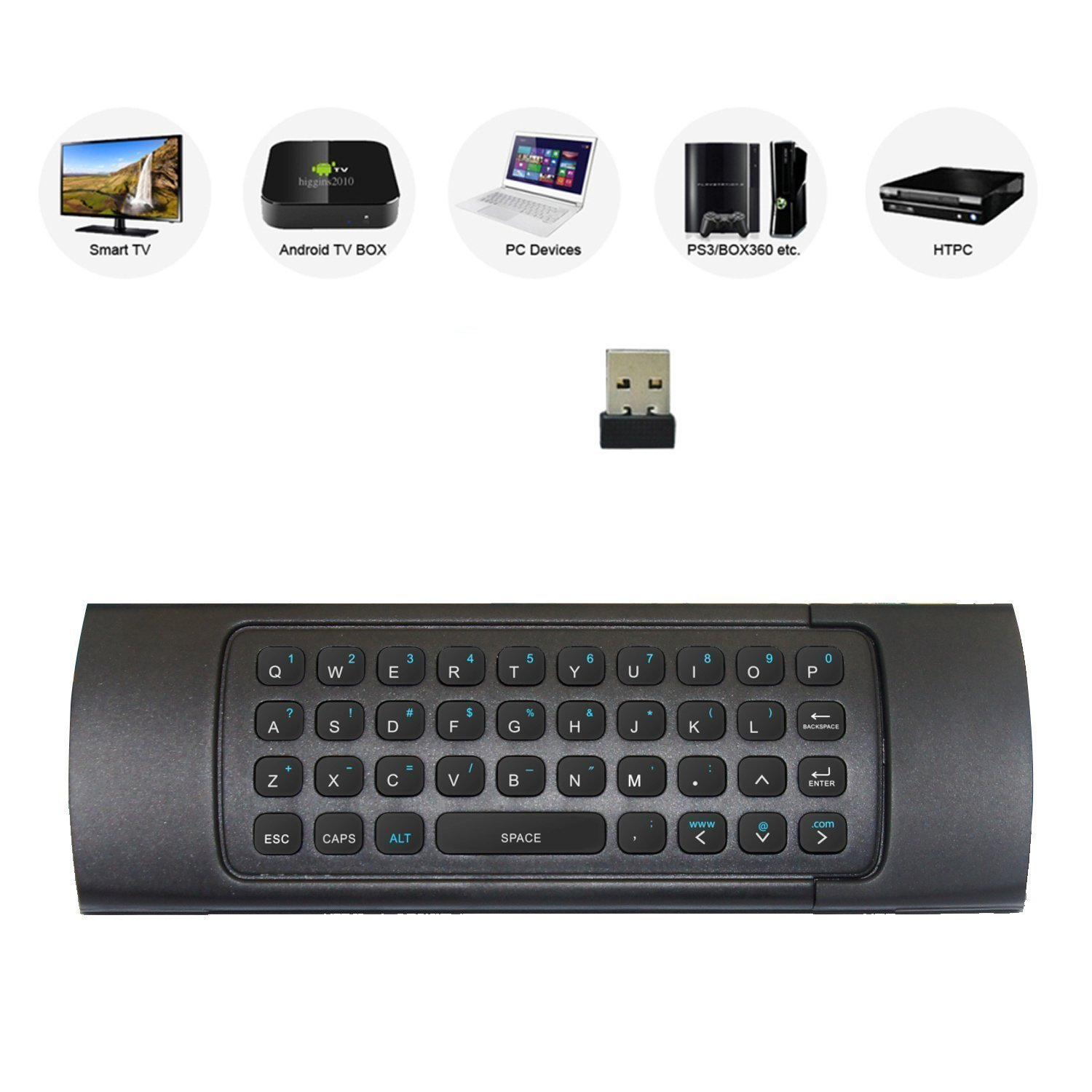 Rii MX3 Multifunction 2.4G Fly Mouse Mini Wireless Keyboard & Infrared Remote Control & 3-Gyro + 3-Gsensor for Google Android TV/Box, IPTV, HTPC, Windows, MAC OS, PS3 by Rii (Image #2)