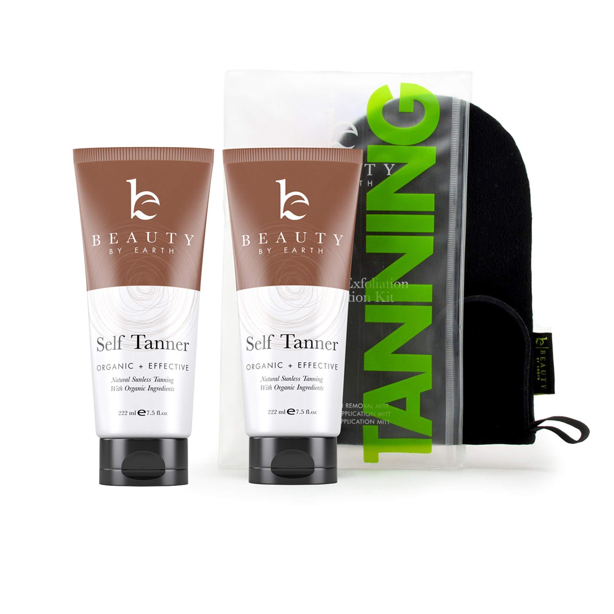 Self Tanner & Tanning Mitt Set - With Natural Tanning Lotion, Exfoliating Gloves, Self Tanner Mitt for Body and Face Tanner Tanning Mit, Best Self Tanning Lotion Kit for Your Self Tan (2 bottles)