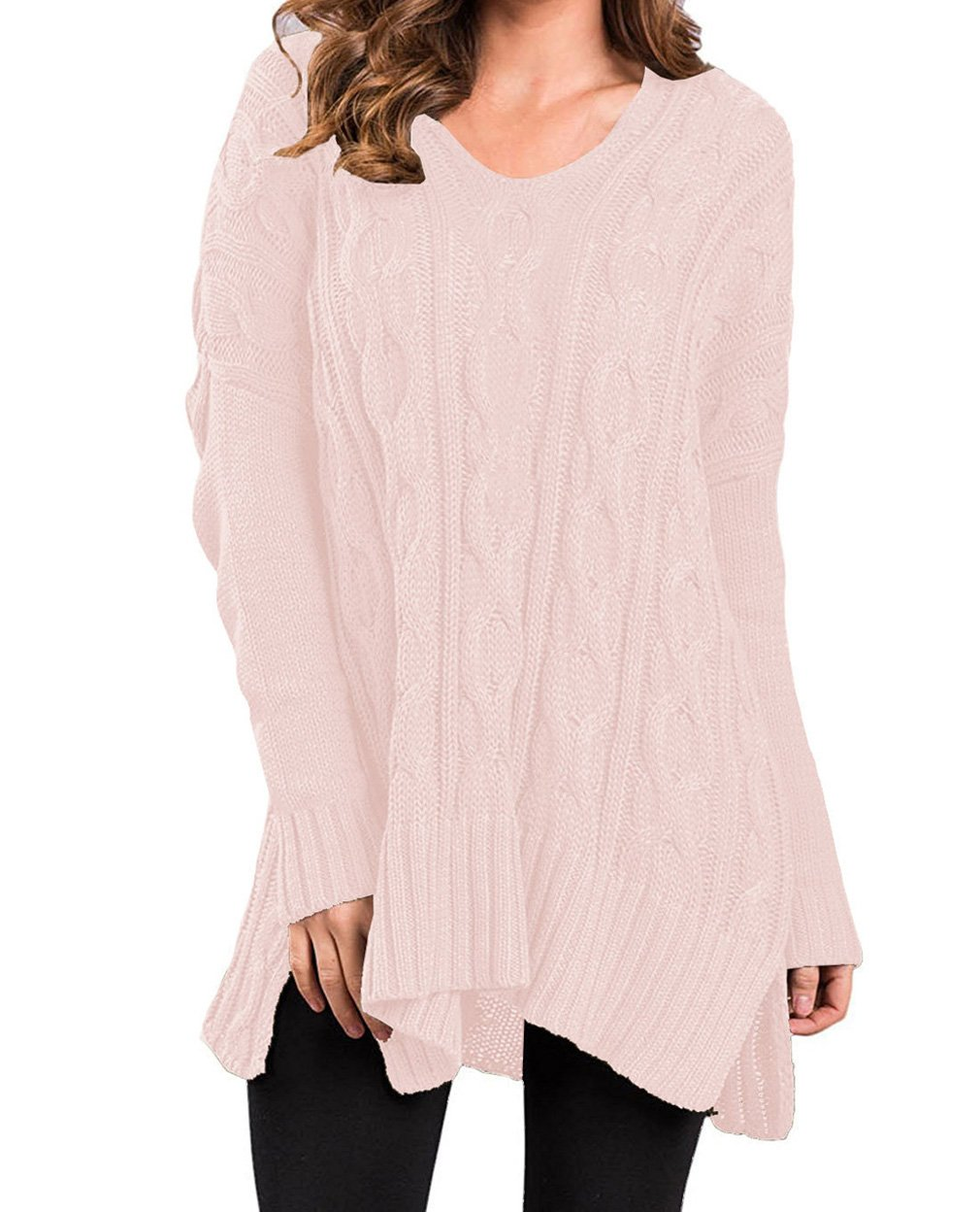 Tomlyws Women Casual V Neck Long Sleeve Loose Fit Knit Sweater Pullover Top Pink S