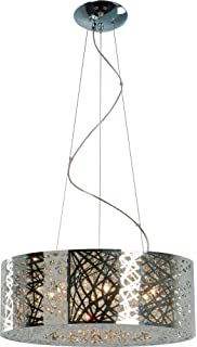 Amazon 9 light drum shade bird nest chandelier pendant et2 lighting 21308 inca mini pendant fixture polished chrome finish 235 by 10 mozeypictures Image collections