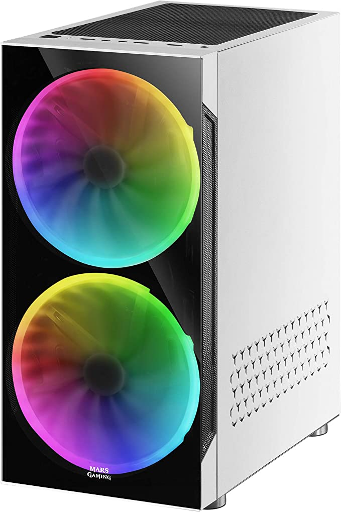 Mars Gaming MC9, Caja PC ATX, Ventana Lateral+Frontal, 2xVentilador ARGB, Blanco: Amazon.es: Informática