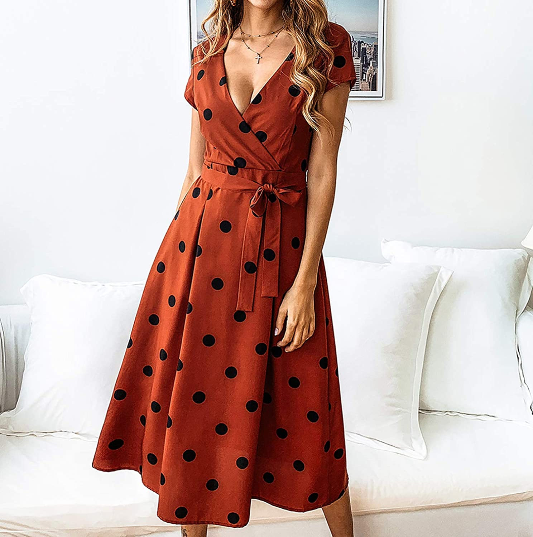 27818902c64ea ECOWISH Women s Summer V Neck Polka Dot Short Sleeve Vintage Wrap Dress  with Belt at Amazon Women s Clothing store