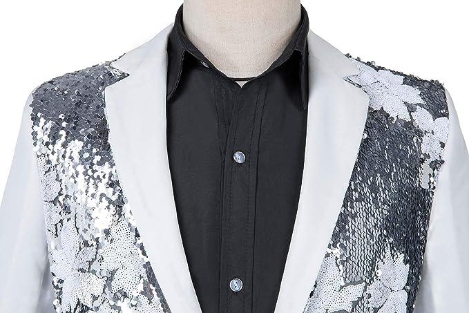 Amazon.com: Chaqueta con lentejuelas brillantes para hombre ...