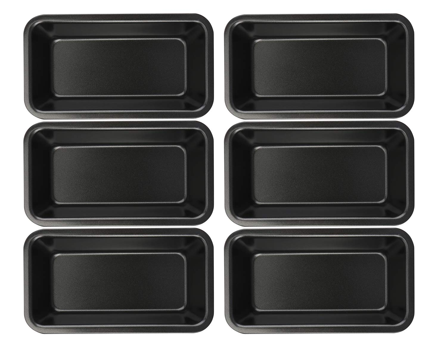 Lawei 6 Piece Non-Stick Mini Loaf Pan - 3.5 x 6 Inch Carbon Steel Bread and Toast Mold