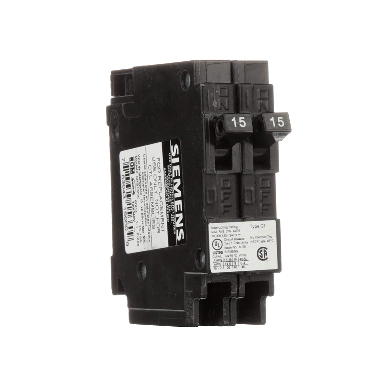 Siemens Q1515NC Two 15-Amp Single Pole 120-Volt Non-Current Limiting Circuit Breaker