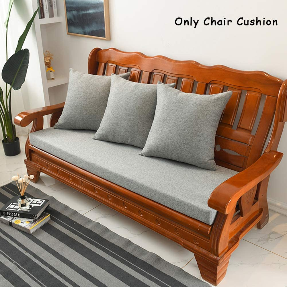 ANQI Thick Padded Wooden Chair Cushion Rattan Bench Pad,Seating Cushion Outdoor Patio Steamer Deckchair Mat Rectangular Chaise Lounge Cushion,Detachable