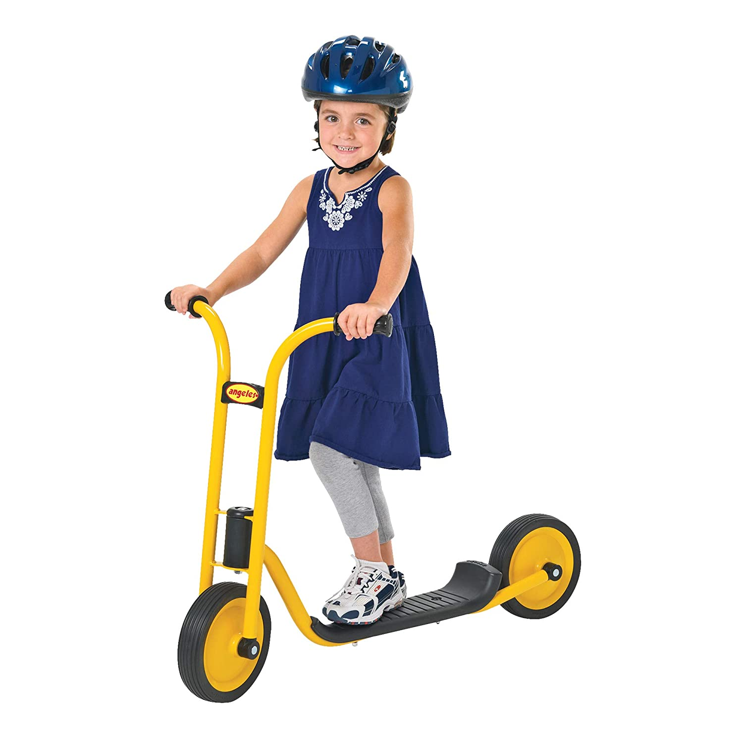 Angeles MyRider Mini Scooter, Yellow for Young Riders Ages 3 , Encourages Active Play, Teaches Balance, Supports Up to 70lbs, Extra-Long Sturdy Footplate, Solid Tires and Built-in Safety Features