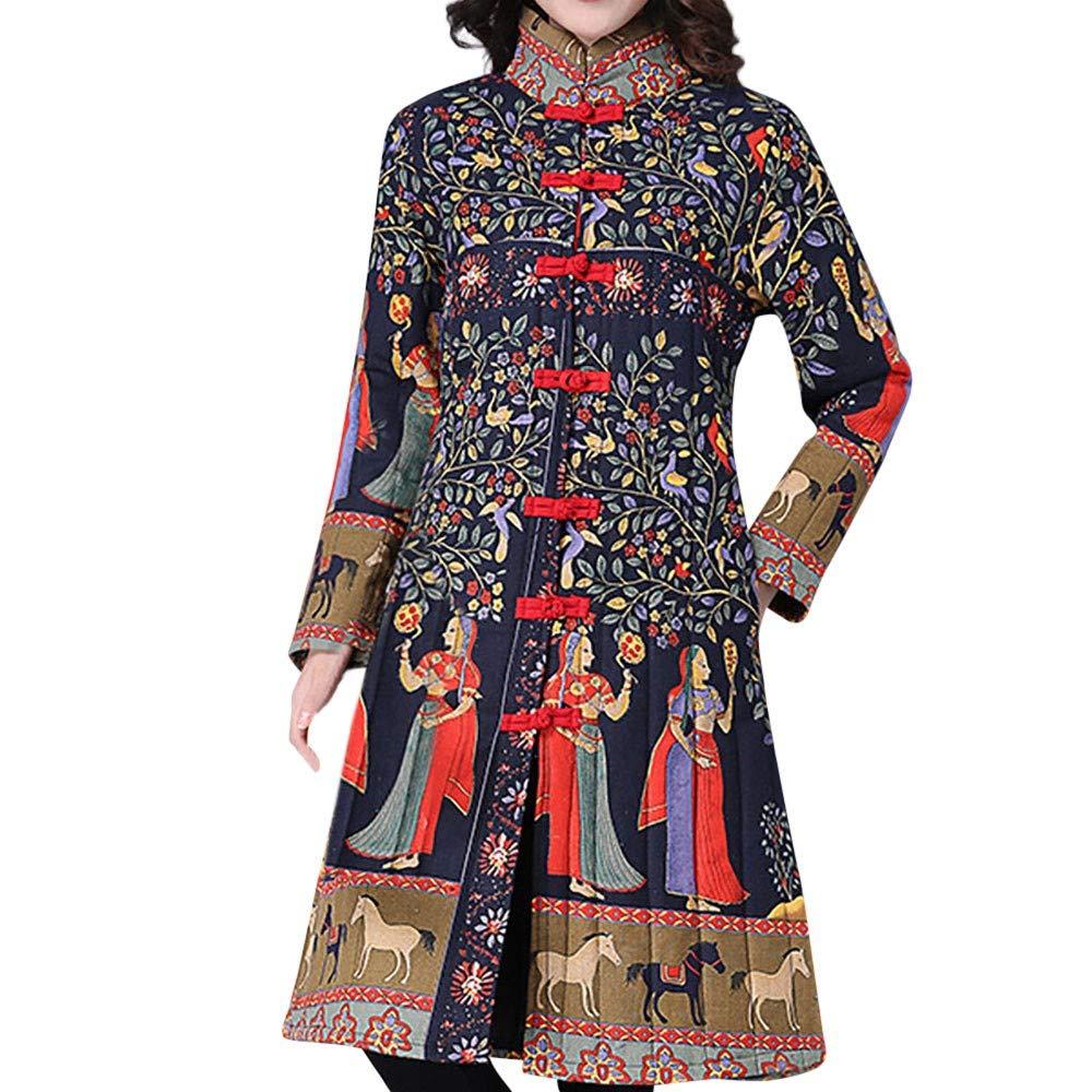 Fantaisiez Manteaux Femme Vintage Veste épais Hiver Chaud Manteau Longue Femmes Outwear à Capuche Imprimé Jacket Décontractée Coton Mode