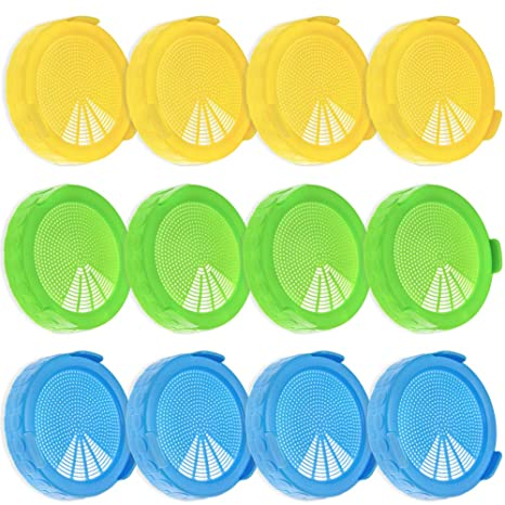 Bean Screen Plastic Mason Jar Sprouting Lids for Wide Mouth Mason Jar 2 Pack
