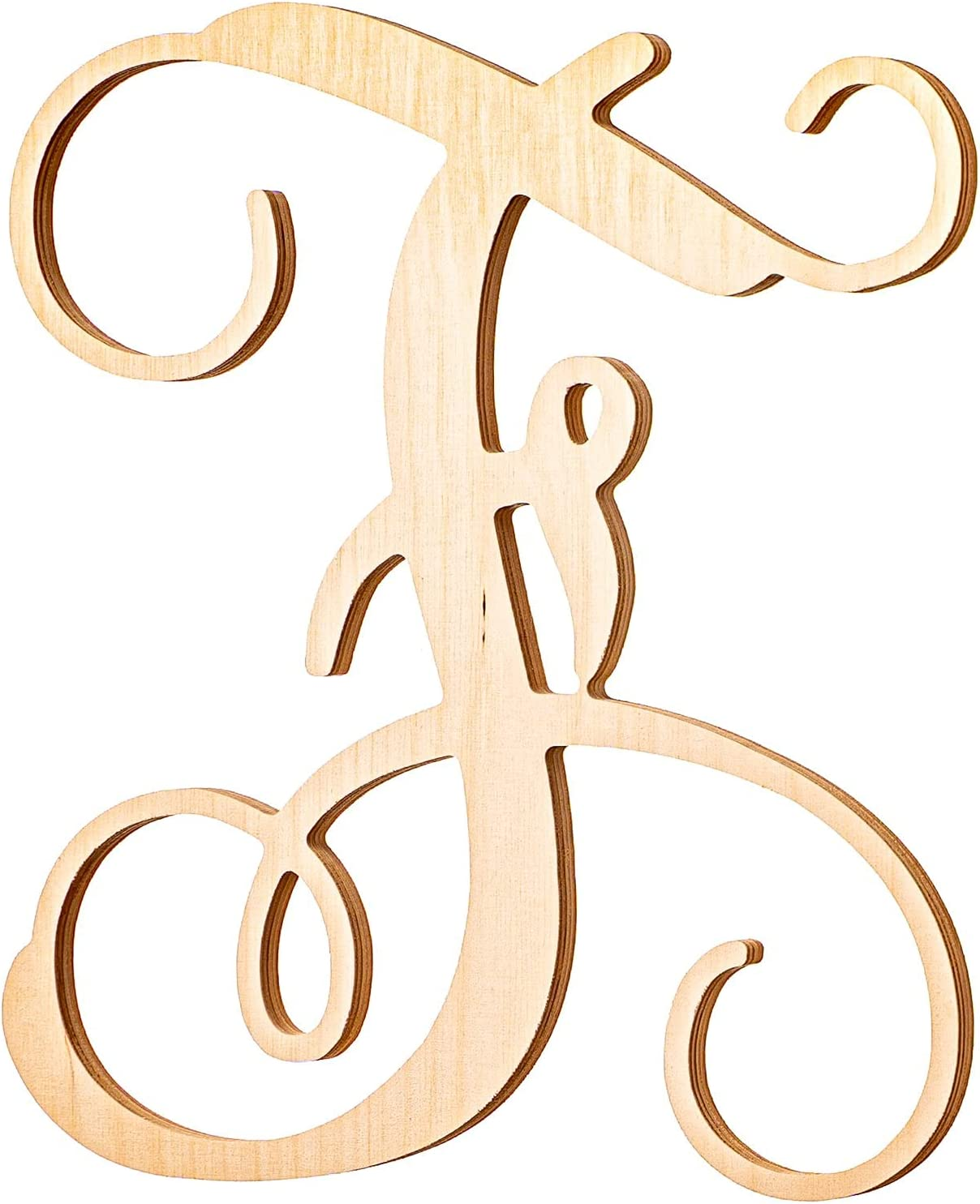 UNFINISHEDWOODCO Single Vine Monogram Unfinished Wood Letter, 19.5-Inch Tall, Initial for Wall Décor & Baby Door Hanger - Letter F