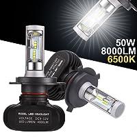GreenClick 2*H4 Seoul-CSP LED phares Voiture Ampoules,Etanche IP65, 50W 8000LM,Car Headlight LED Véhicule Blanc Pur 6500K Tout-en-un kit de conversion.(H4)