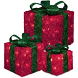 Set of 3 Decorative Pre-Lit LED Christmas Gift Boxes Festive Xmas Decoration (Red with Green Bow)