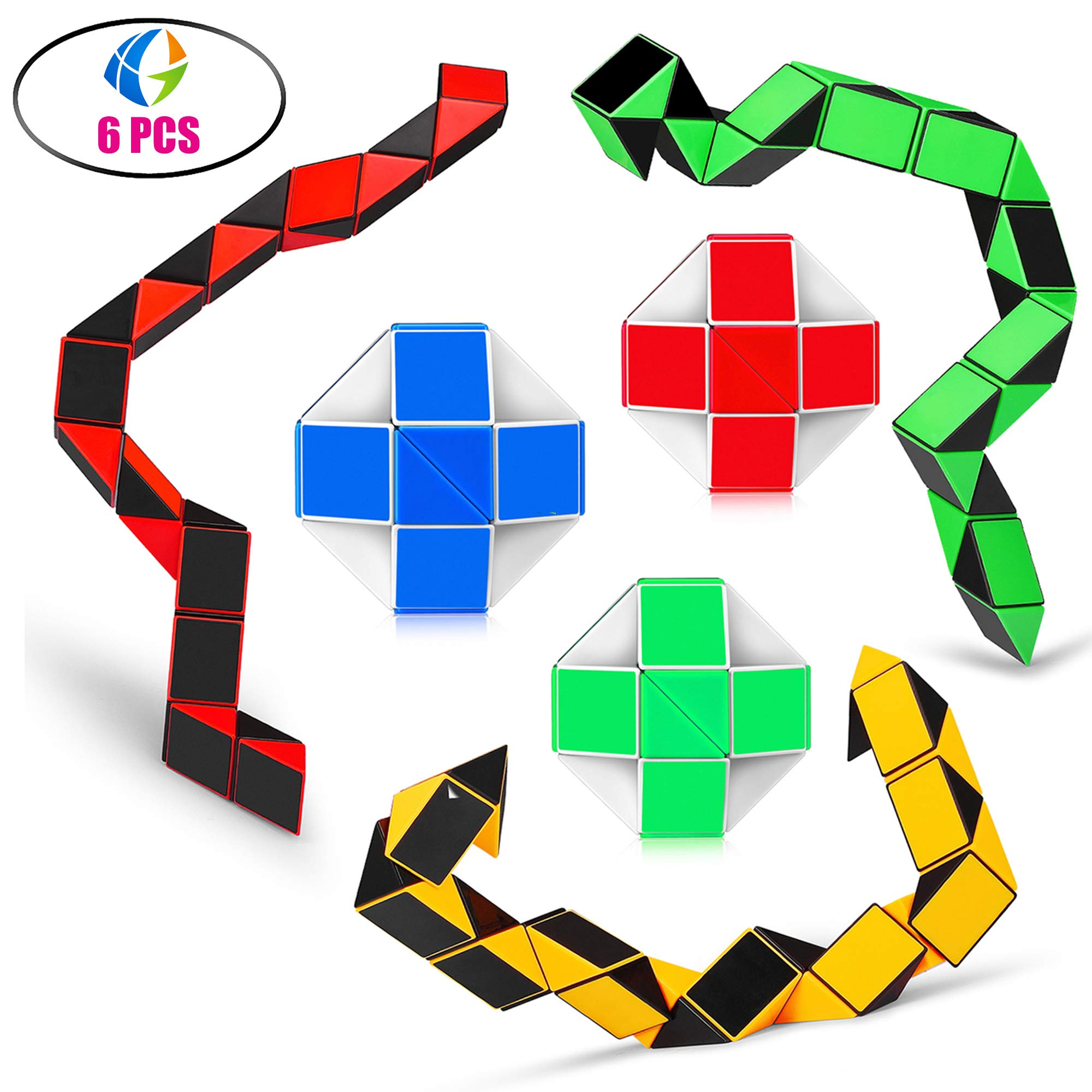 Speed Cube Snake Ruler Twisty Fidget Cube Puzzle Pack Stickerless Magic Snake Game Toys Collection Brain Teaser for Kids (24 Parts 6PCS)